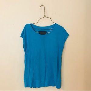 Bright Blue Mesh Back Knit Top